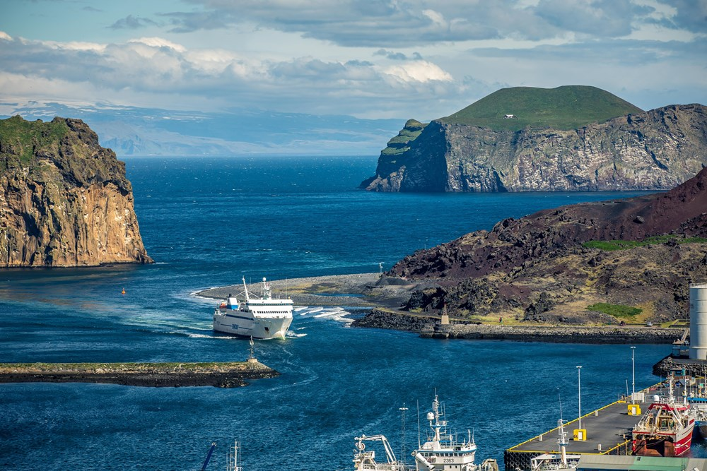The Ferry arriving in the Westman Islands